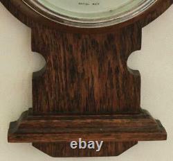 1920c ENGLISH OAK WEATHER STATION BANJO BAROMETER THERMOMETER