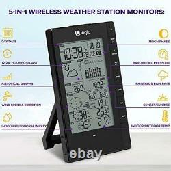 5-in-1 Weather Station, Wireless Thermometer Digital Indoor Outdoor LCD Humidity