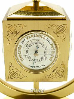 Angelus table clock with 8 day movement, weather station Barometer