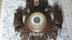 Antique Black Forest French Barometer Weather Station Hunting Hand Carved Wood
