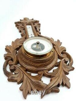 Antique Black Forest Handcarved Wooden Weather Station Barometer Thermometer