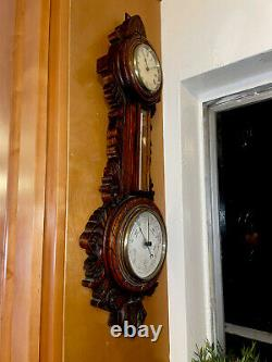 Antique Victorian English Clock/Barometer/Thermometer/Weather Station