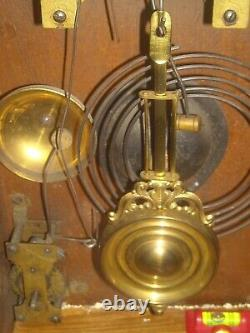 Antique Waterbury Gibson kitchen weather station oak clock with alarm for repair