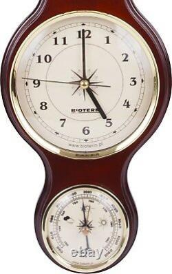 Banjo Weather Station Barometer Thermometer Hygrometer Clock Sheraton Style New