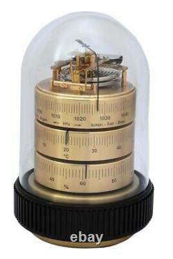 Barigo Table Weather Doppeldose Analogue Barometer Thermohygrometer Brass