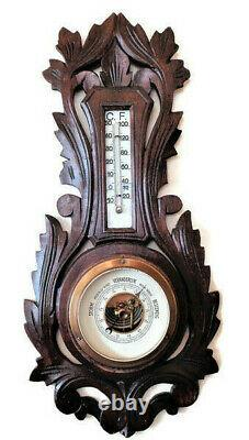 Barometer Thermometer Wood Carved Weather Station Germany