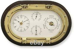 Brass and Wood Clock and Weather Station