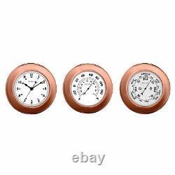 Bulova Info Station Metallic Wall Thermometer, Barometer and Clock Set C4829