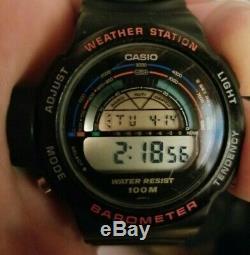 Casio BM-500W weather station digital watch barometer vintage japan new battery
