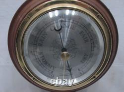 Early Taylor Banjo Wall Weather Station 21 Thermometer Mahogany Wood Barometer