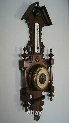 Genuine antique weather station, barometer, carved wood and glass thermometer