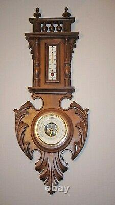 Genuine antique weather station, barometer, carved wood and glass thermometer US