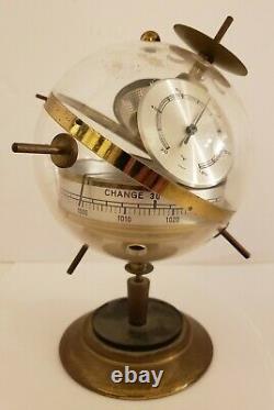 German Brass Mid Century Modernist Atomic Age Sputnik Weather Station Barometer