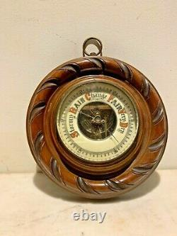 Gorgeous Antique barometer ornate wood with porcelain Dial weather station
