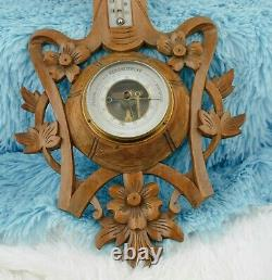 Hand Carved Victorian Wood Barometer Thermometer Weather Station Black Forest
