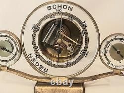 Hans Lufft German Machine Age/Art Deco Desktop Barometer Weather Station- 1930s