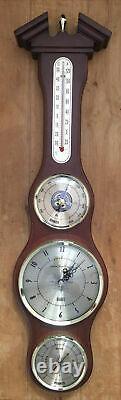 London Clock Company Banjo Clock WeatherStation Barometer Thermometer Hygrometer