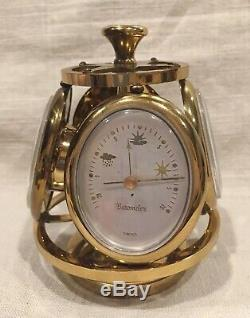 RARE VINTAGE REMEMBRANCE SWISS MADE BRASS 4 SIDED WEATHER STATION With 8 DAY CLOCK