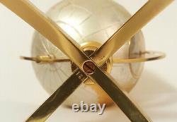 Rare 1950 Angelus Swiss Weather Station Globe 8 Day Clock Barometer Stand Brass