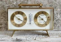 Rare Vintage Retro Swiza Mechanical 8 Day Clock Barometer Weather Station VGC