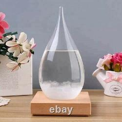 Storm Glass Weather Station Barometer with Wooden Base Home Decor Large