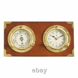 Two Porthole Quartz Clock & Barometer On Teak Finished Wood
