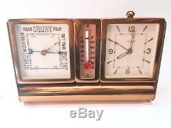 VTG LeCoultre Desk Travel Clock Weather Station Barometer Alarm Brass BOX PAPERS