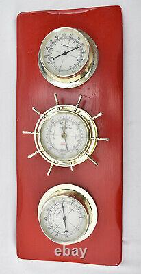 VTG Red Springfield 3 Gauge Weather Station Humidity Temperature Barometer USA