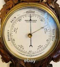 Victorian Carved Oak Admiral Fitzroy Weather Station (Clock, Baro & Thermometer)