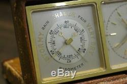 Vintage ANGELUS 8 DAY Calendar Weather Station Desk Clock Barometer Thermometer