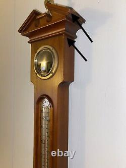 Vintage Airguide Mahogany Banjo Style Wall Barometer/Weather Station 29H