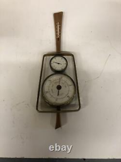 Vintage Airguide Mid-Century MCM Barometer and Weather Station Teak Danish Style