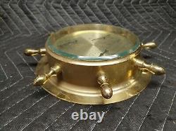 Vintage CAPTAIN MORGAN SPICED RUM Brass Weather Station Barometer Helm Wheel