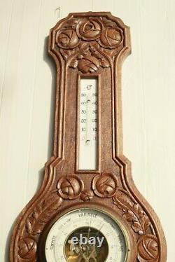 Vintage French Barometer Thermometer Weather Station Hand Carved Wood 26inch