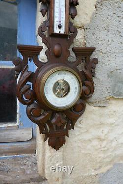 Vintage French Hand Carved Wood Barometer Thermometer Weather Station