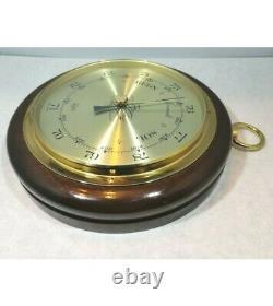 Vintage German Barigo Large Barometer Weather Station Wood Diameter 24 cm
