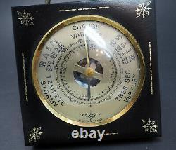 Vintage Leather Brass French Barometer Weather Station France