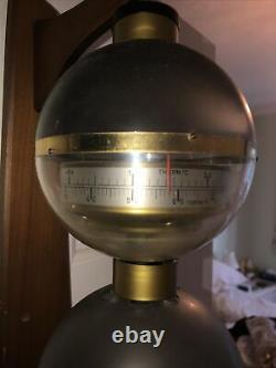 Vintage Sputnik Weather Station In Brass With Wall Fixture Barometer Thermometer