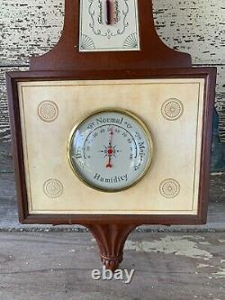 Vintage Taylor Mahogany Wood Weather Station Thermometer Barometer Humidity