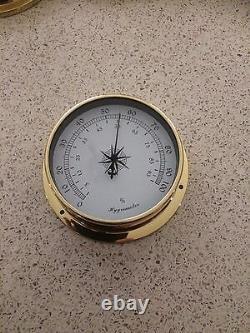 Weather Station 4 pcs/set 115mm Brass Barometer /Thermometer/ Hygrometer /Clock