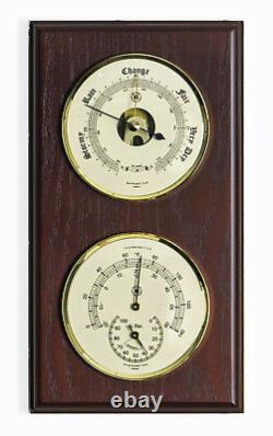 Weather Stations Plymouth Barometer And Thermometer & Hygrometer Mahogany