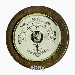 Weather Stations Portsmouth Barometer With Thermometer On Cherry Wood Base